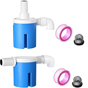 2 Pieces 1/2 Inch Float Valve, Side-Entry Built-in and Built-in Embedded Float Valve, Float Valve with Filter for Automatic Control of Water Level in Water Tank and Pool