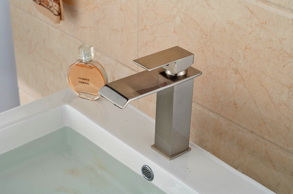 SADASD Modern Bathroom sink faucet Copper Single Lift Type Single Hole Single Handle Hot and Cold Water Ceramic Valve Core Tap With G1 2 Stainless Steel Hose