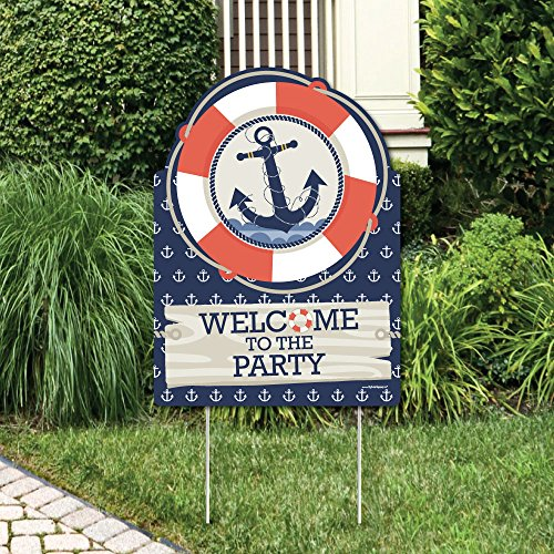 Ahoy - Nautical - Party Decorations - Birthday Party or Baby Shower Welcome Yard Sign