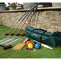 Juego de croquet Longworth para juegos de jardín - 4 jugadores ACTUALIZADO Conjunto adulto de tamaño completo en una bolsa de almacenamiento de lona de