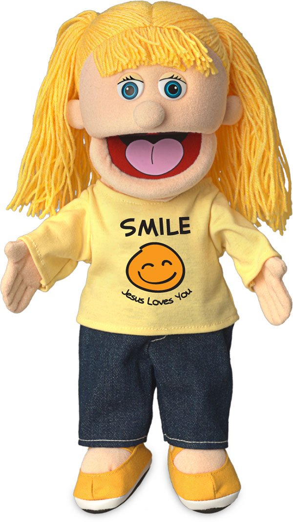 14'' Smile Jesus Loves You, Peach Girl, Christian Ministry Hand Puppet