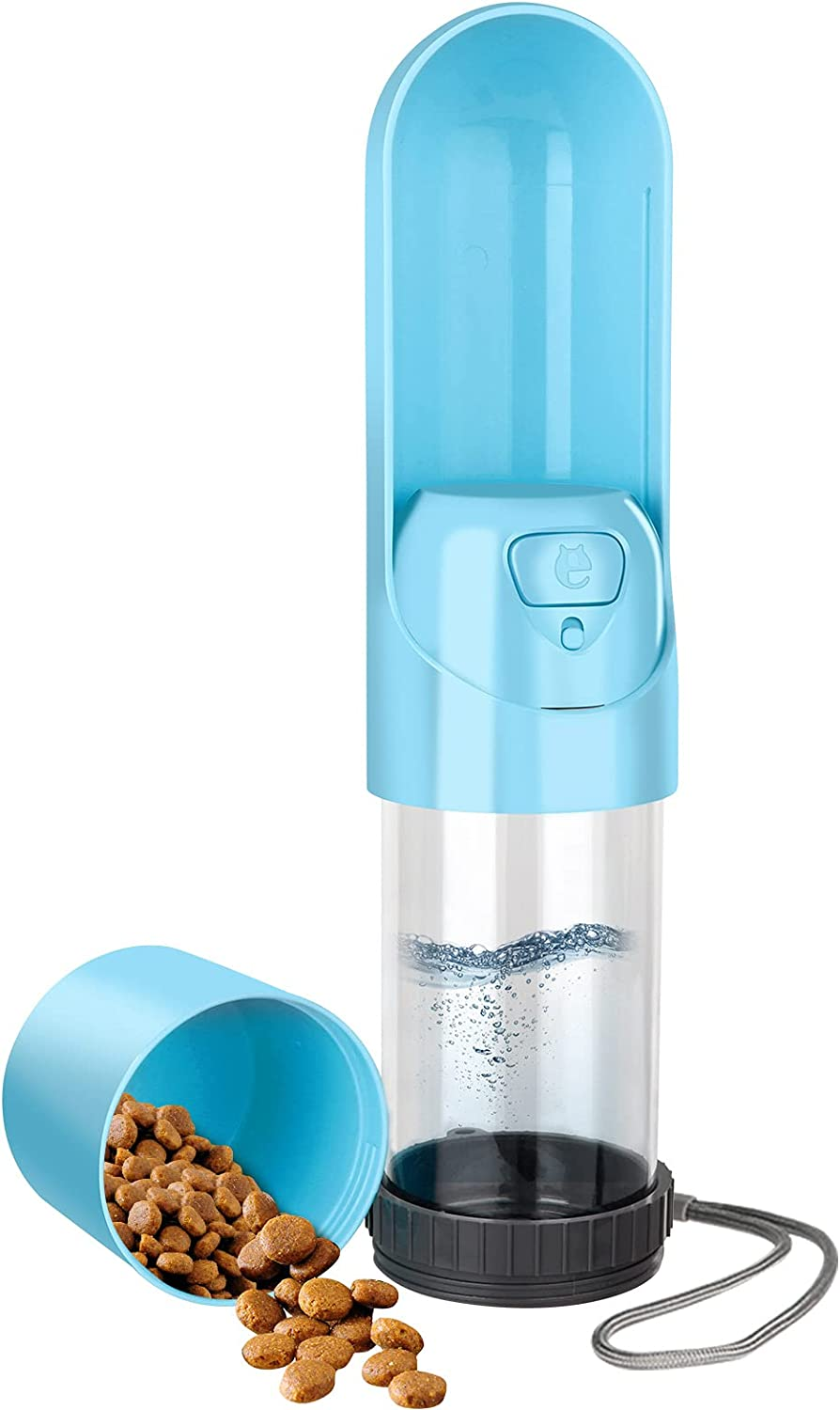 Portable Dog Water Bottle: Leak-Proof Cat Travel Water Dispenser, can Be Filled with Both Water and Food, Suitable for Kitty and Puppy Outdoor Walking, Hiking and Traveling (Blue)