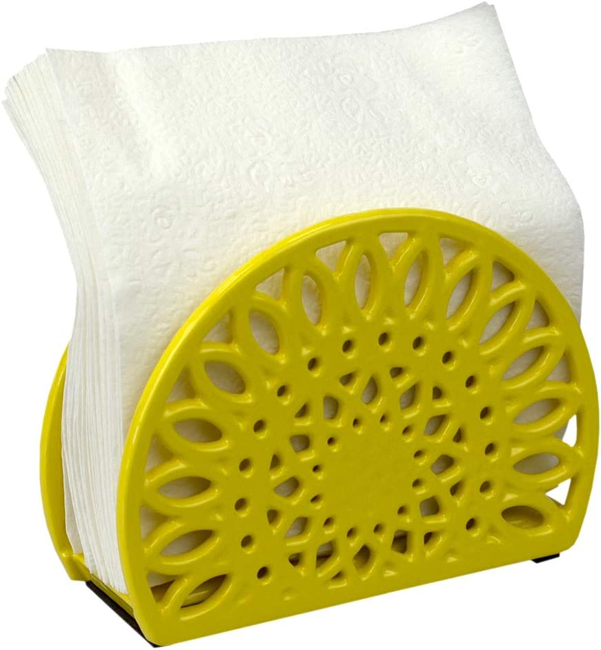 Home Basics Sunflower Collection Cast Iron Napkin Holder for Kitchen Countertop | Dinner Table | Indoor & Outdoor Use | Storage and Organization, Yellow