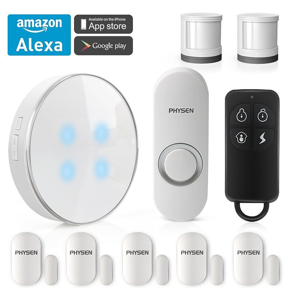 PHYSEN Wireless Smart Home Security System kit with 1 Smart WiFi Hub,1 Doorbell Button,2 Motion Sensors,5 Contact Sensors and 1 Remote Control,Control by Smartphone APP,Work with Alexa