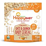 Happy Baby Clearly Crafted Cereal, Organic Whole Grain Oats and Quinoa, 7 Ounce (Pack of 6) Organic Baby Cereal in Resealable Pouch, with Iron to Support Baby's Brain Development, Great First Food