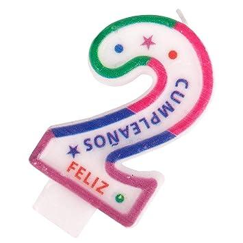 Cotigo- Vela de Cumpleaños de Número 2: Amazon.es: Juguetes ...