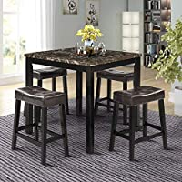 Romatpretty 5-Piece Kitchen Wooden Top Counter Height Dining Table Set