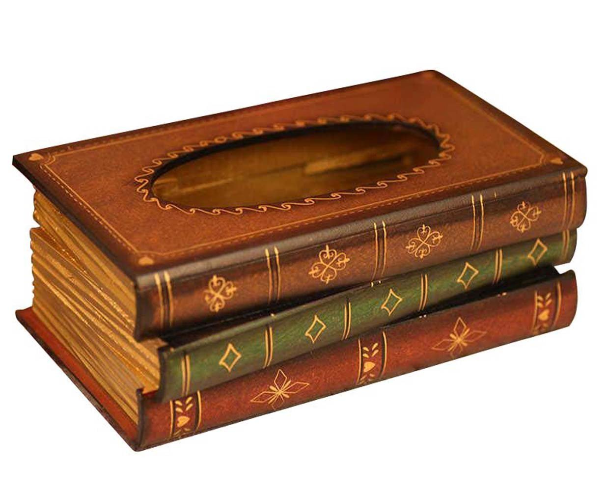 Tosnail elegante in legno libro antico tessuto del dispenser/novità portatovaglioli