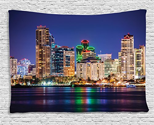 Ambesonne Apartment Decor Collection, Colorful Skyline San Diego At Night. North San Diego Bay Boats Architecture Urban, Bedroom Living Room Dorm Wall Hanging Tapestry, 60W X 40L Inch