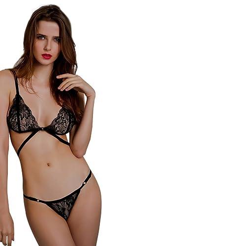 OverDose Mujeres Lingerie Corset Encaje Vendaje Push Up Top Bra + Pantalones Set Ropa Interior