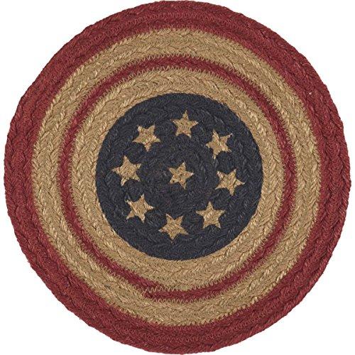 VHC Brands Seasonal Americana Tabletop & Kitchen-Liberty Stars Red Flag Jute Trivet