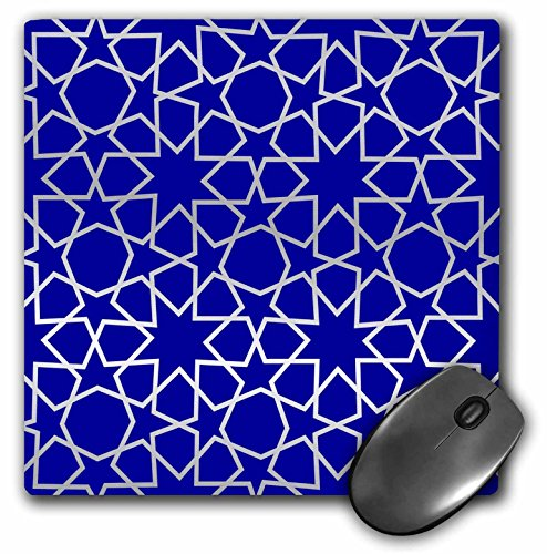 3dRose LLC 8 x 8 x 0.25 Inches Silver Stars Outline Geometric Intricate Islamic Art Pattern on Blue, Filigree Laser Cut Effect Mouse Pad - Outline Silver Star