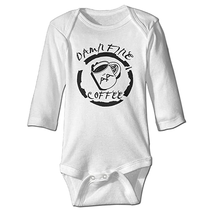 Guw Rompers Damn Fine Cup Of Coffee Toddler Long Sleeve Graphic Bodysuits Organic Cotton Romper Bodysuits