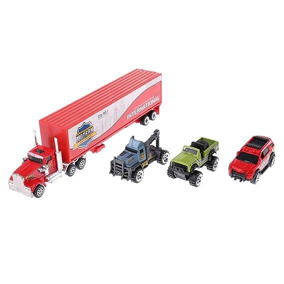 Sharplace 1/64 Modelo Fundido a Troquel Báscula de Aleación Camión Contenedor con 3 Coches - A: Amazon.es: Juguetes y juegos