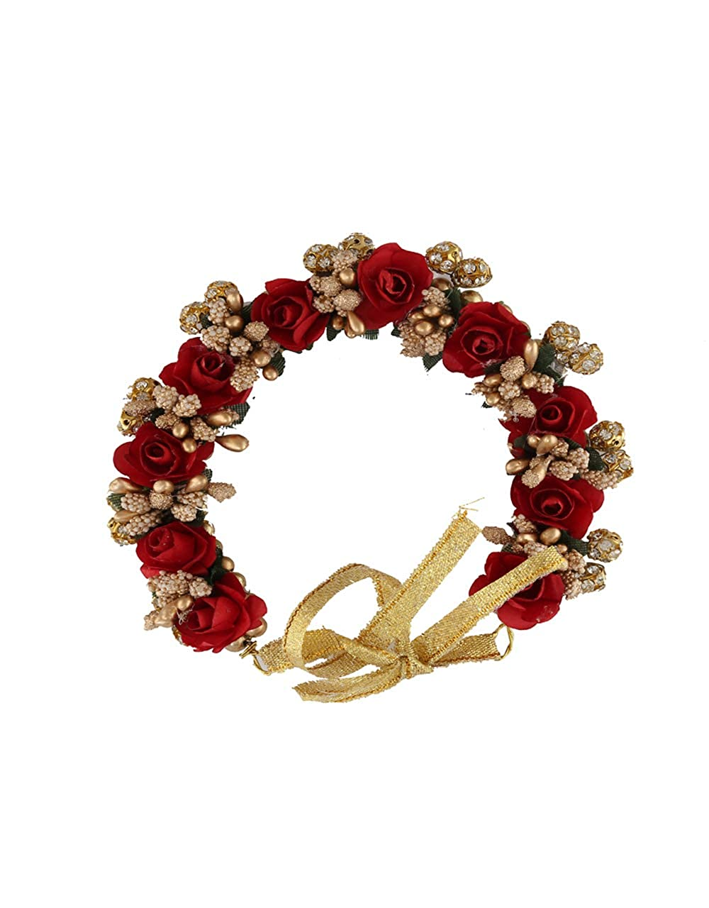 a83688748 Buy Anuradha Art Gold Finish Styled with Red Flower Wonderful Bun Hair  Gajra for Women/Girls Online at Low Prices in India   Amazon Jewellery  Store ...