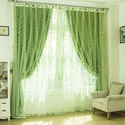 Green Curtains amazon green curtains : Leaves Curtains: Amazon.com