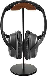 Wood Headphone Stand Rack - Universal Cambered Headphone Hanger,Walnut Headset Hanger Accessory Compatible with logitech Razer Shure Gaming DJ Earphones for Desktop Organization Display