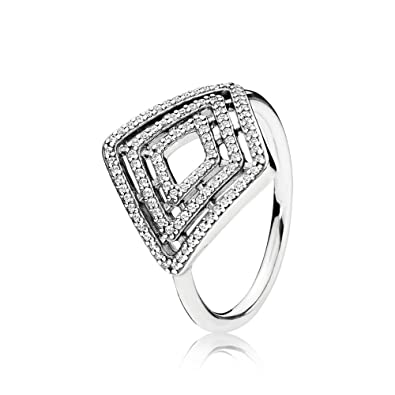 da2f2f41f Image Unavailable. Image not available for. Color: PANDORA Geometric Lines  Ring, Clear CZ ...
