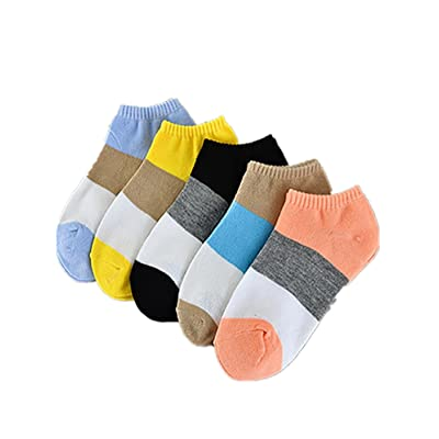 5Pairs Women Socks, Sagton Women Cotton Stripe Socks Floor Athletic Crew Socks Short Ankle Socks