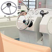 13-1/2 Inch 5-spoke Destroyer Style Stainless Boat Steering Wheel-25 Degree Dish