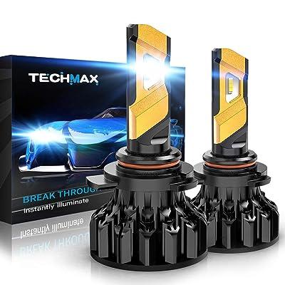 TECHMAX 9012 LED Headlight Bulb,HIR2 12000Lm 6500K Xenon White Conversion Kit of 2: Automotive [5Bkhe2001144]