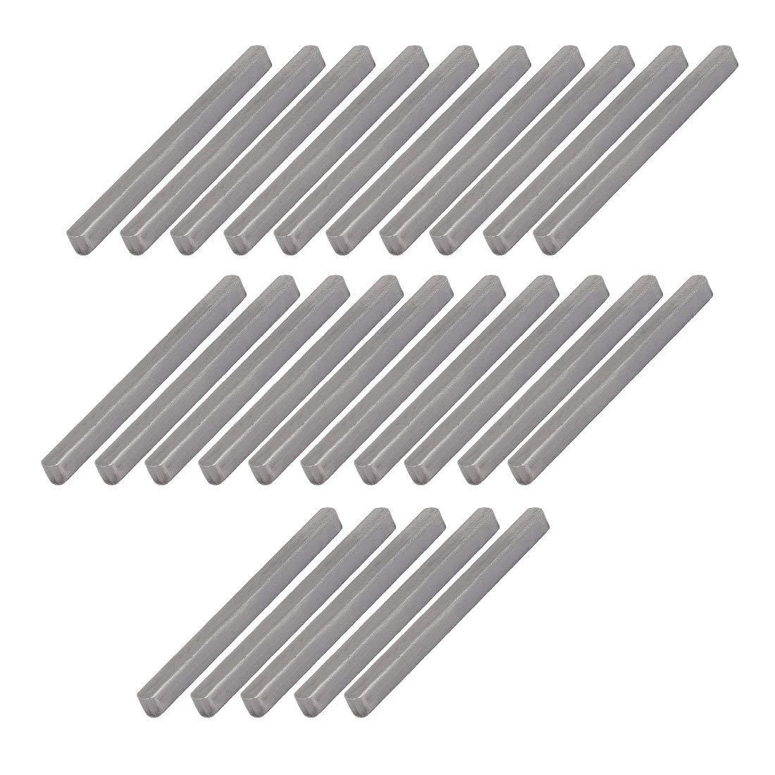 50mmx4mmx4mm acier carbone clavette barre clavette 25pcs gris