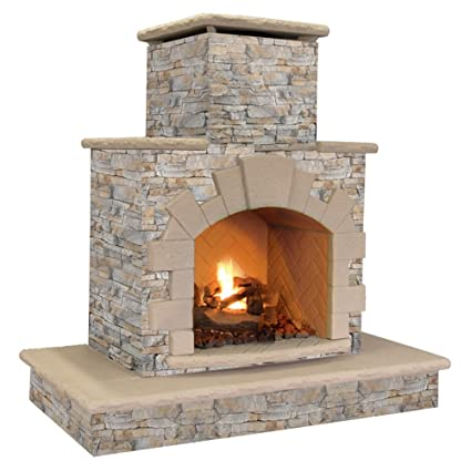 Amazon Com Natural Stone Propane Gas Outdoor Fireplace Garden