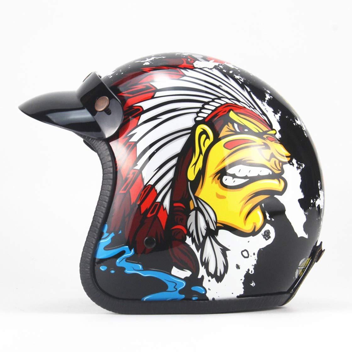 Tnosky Retro Motocross Helme Schädel Drachen Totem Leicht Ausrüstung im Freien Multifunktion Abnehmbare Sonnenblende Radfahren Motorrad Schutz Deluxe Helm, B, S