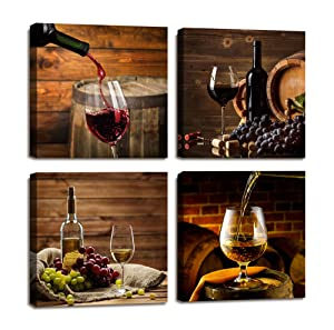 ARTLONGJI Red Wine Cups HD Modern 4 Panels Framed Wall Art Abstract Giclee Canvas Prints Artwork Contemporary Vintage Pictures Paintings on Canvas Wall Art for Kitchen Home Decorations