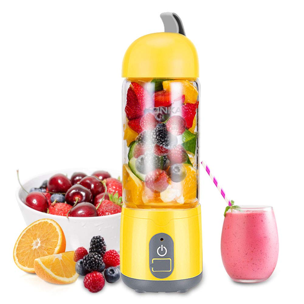 KONKA Portable Blender,Household Blender Juicer With USB Rechargeable,Personal Blender for Shakes and Smoothies,Double-Click to Start,High Borosilicate Glass Material, 420ml,Yellow (FDA BPA free) by KONKA