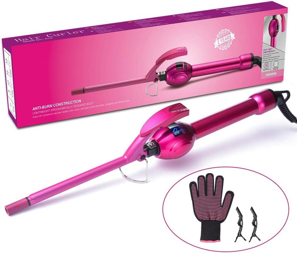 LONGKO - Rizador de pelo (9 mm, para pelo corto y largo, con ...