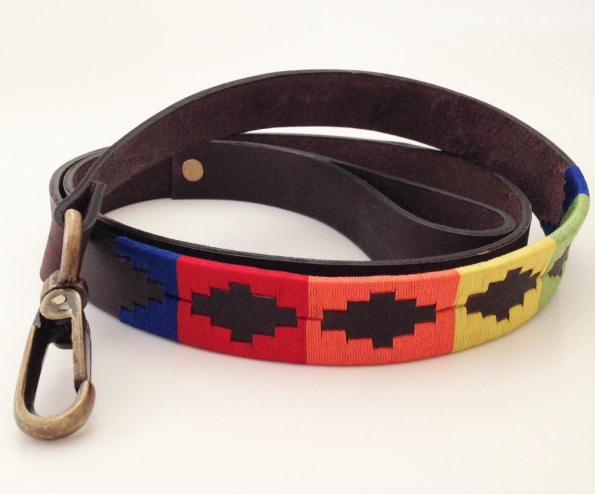 Piel, hecha a mano), diseño de perro Lead Leash de bordado Polo ...