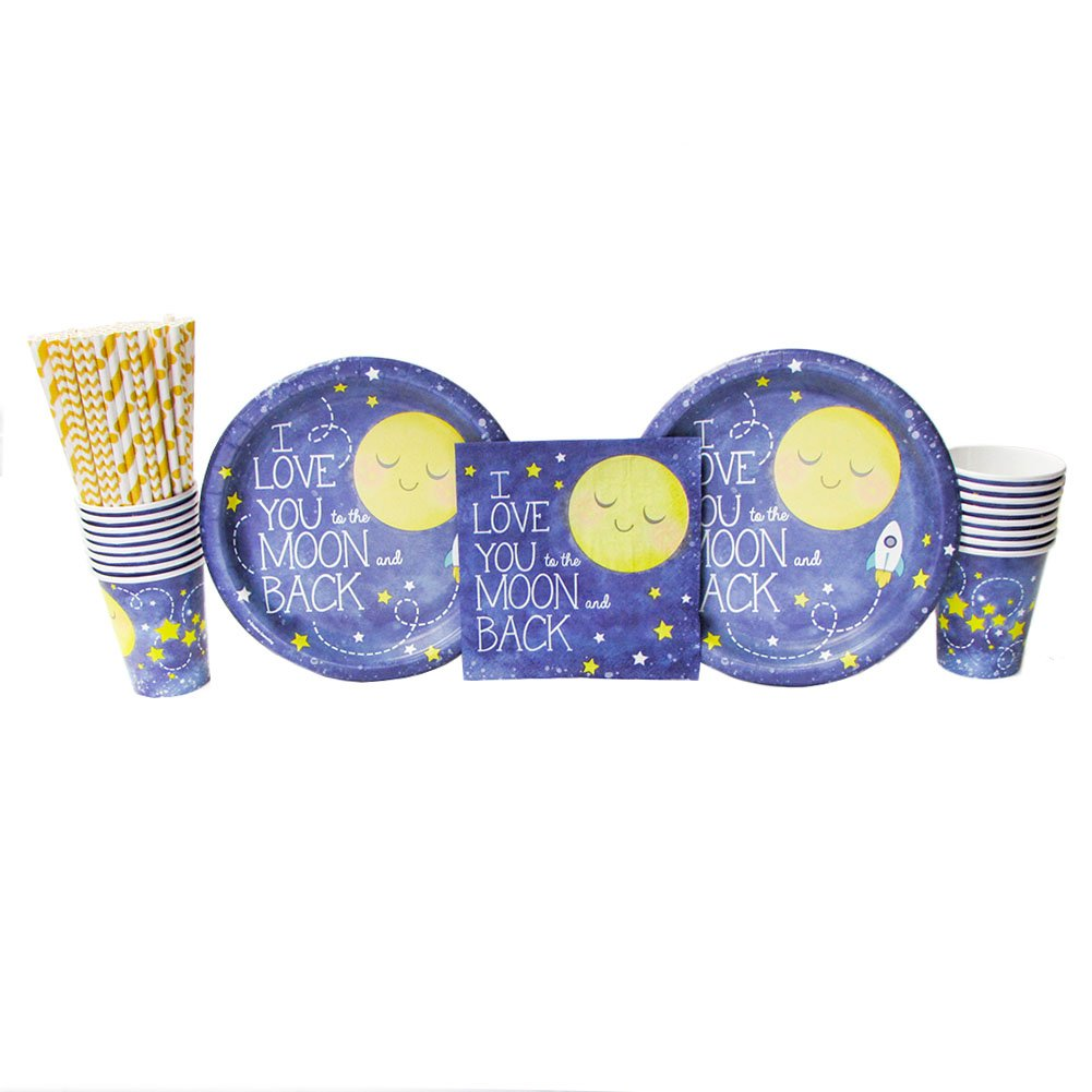 Cedar Crate Market To the Moon Back Party Supply Pack 16 Guests: Straws, Dinner Plates, Luncheon Napkins Cups (Bundle 16)