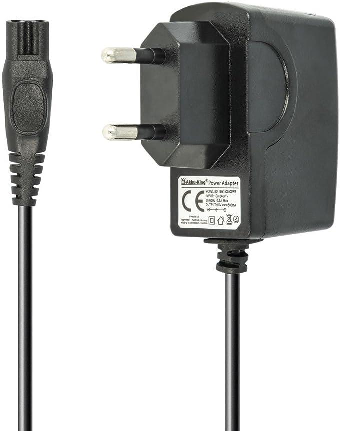 Batería de King 220 V Cargador Cable de Carga 7.5 W (15 V/0.5 A) para afeitadora Philips la HQ de 1,2 m, HS de, RQ de, AT, PT de Serie, Philips PT860/16,