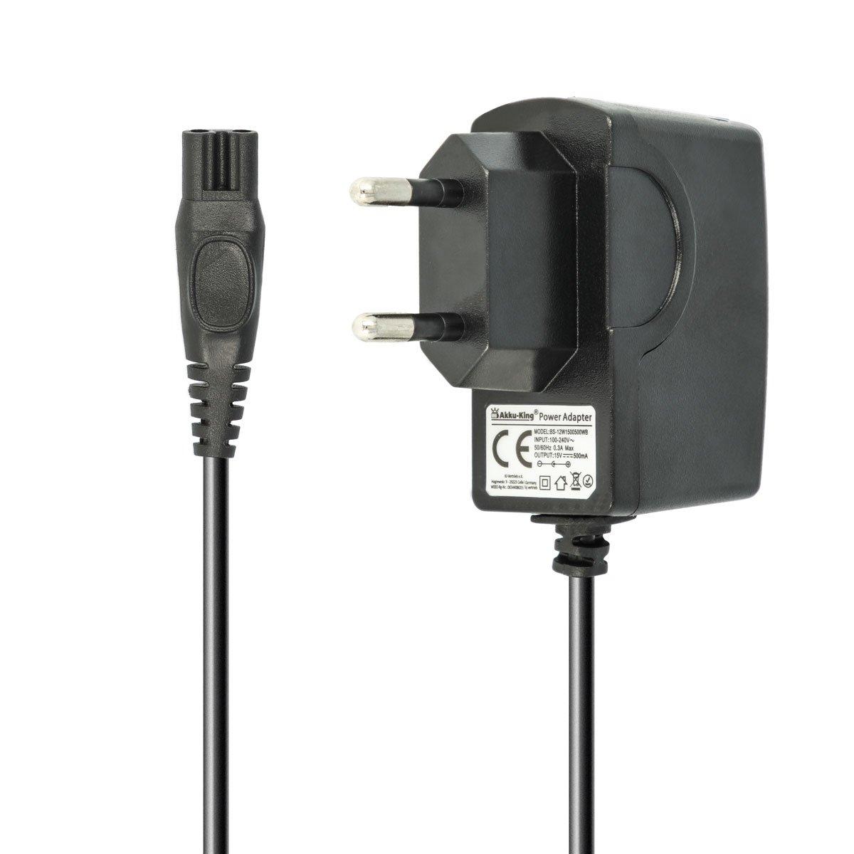 Batería de King 220V Cargador Cable de Carga 7.5W (15V/0.5A) para afeitadora Philips la HQ DE 1,2m, HS de, RQ de, AT, PT de Serie, Philips PT860/16, AT750, AT751, AT752, AT753 Akku-King 4250716150278