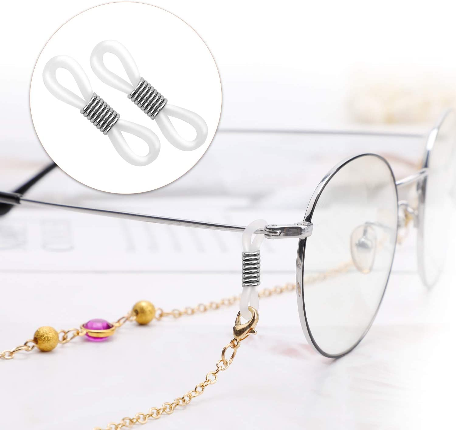 Hifot 40pcs Holder Chain Glasses Ends Spectacle Chain Strap Loop Ends of Glass Cord Ends of Eyeglass Chain Holder Silicone Lanyard Strap Silver