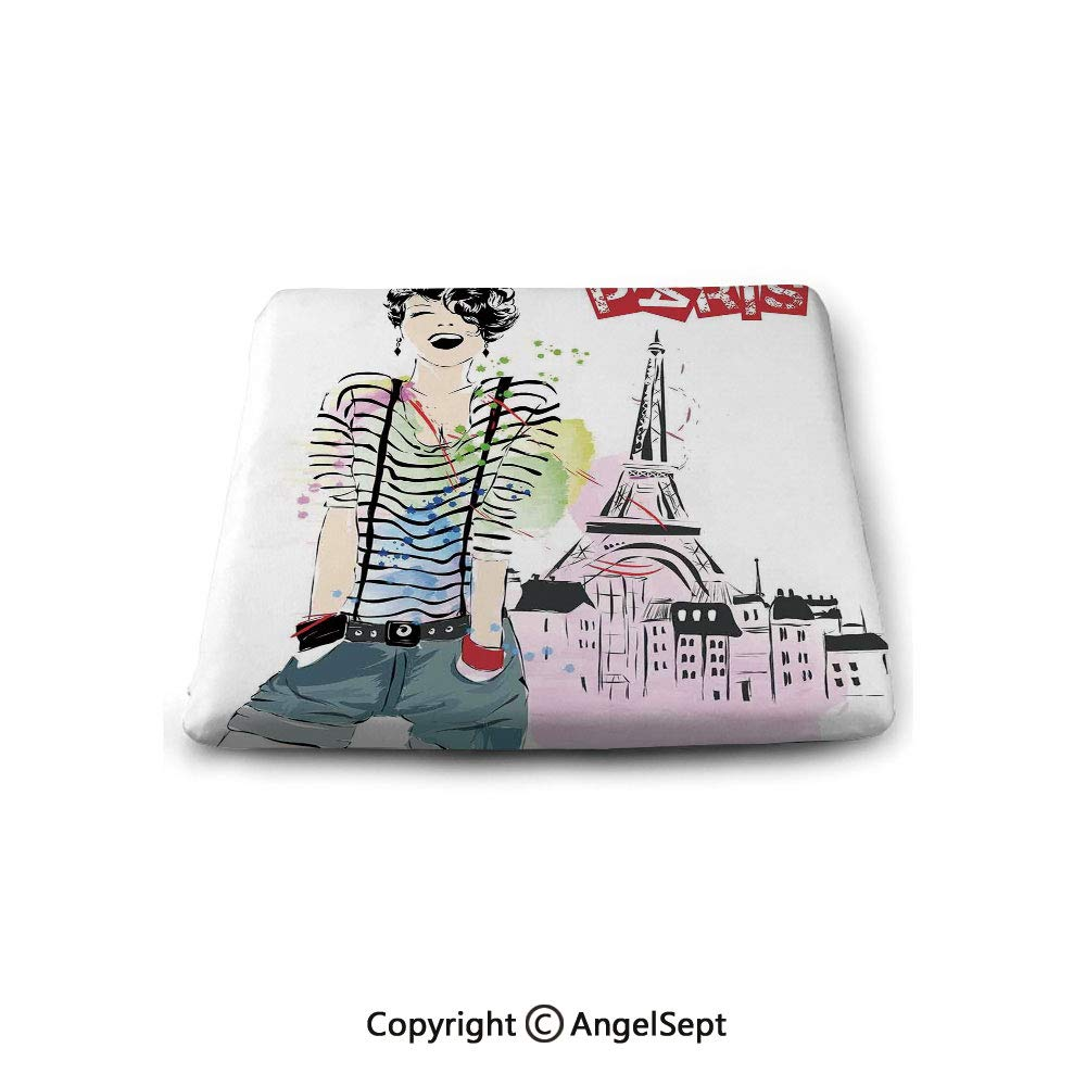 Square Chair Seat Cushion for Kitchen Dining Chairs,Fashion House Decor,Sketch of Fancy Laughing Girl in Front of Eiffel Tower Happiness Stain,Black White,Memory Butt Pad Non Slip