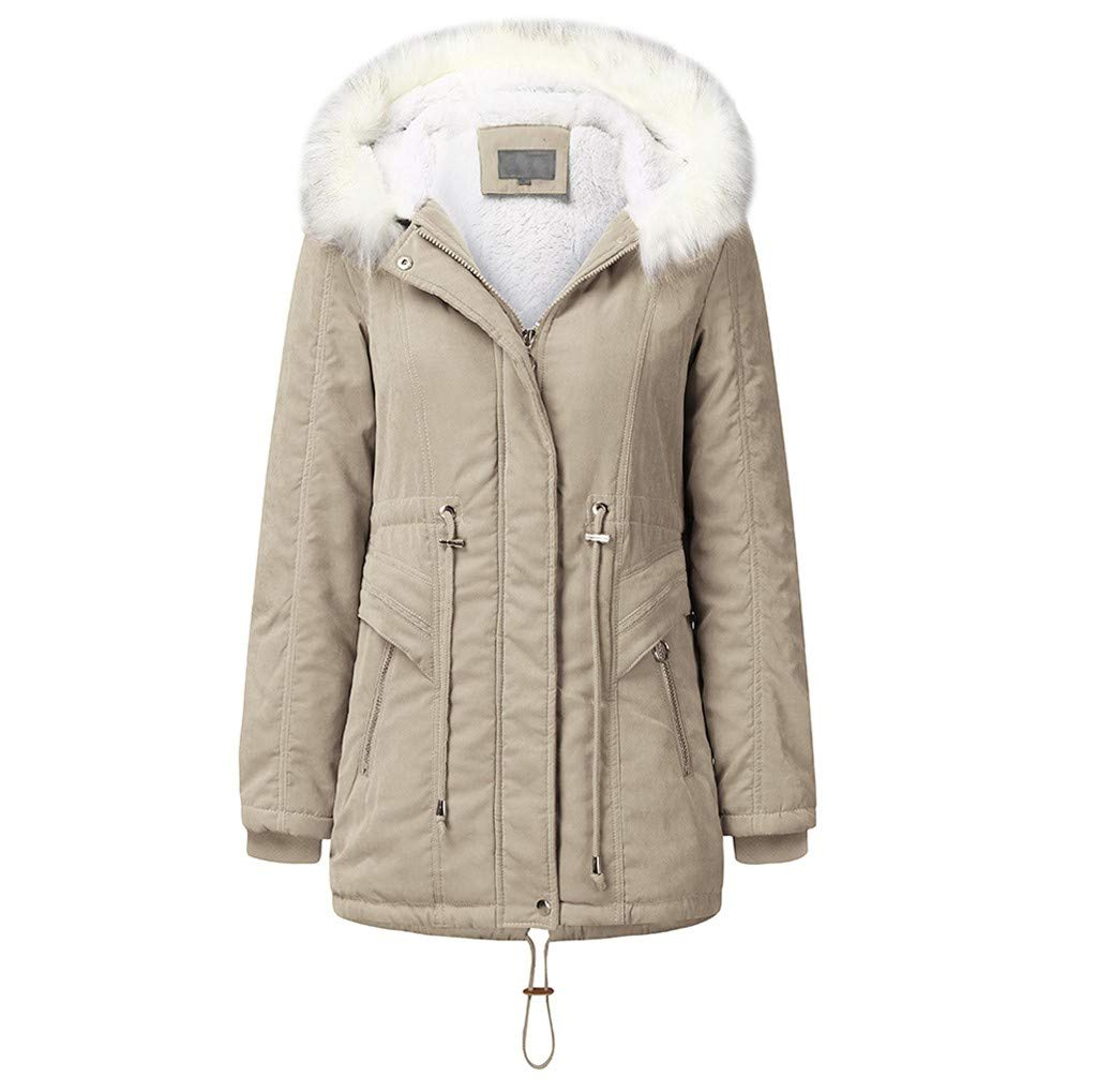 Pandaie Women Winter Jacket Parka Coat Fur Hooded Warm Lined Plush Quilted Down Jacket Trench Coat Beige by Pandaie