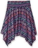 Amy Byer Big Girls' Print Knit Hanky Hem Skirt, Pat for Blue/Multi, X-Large