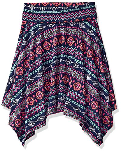 Amy Byer Big Girls' Print Knit Hanky Hem Skirt, Pat for Blue/Multi, X-Large by Amy Byer