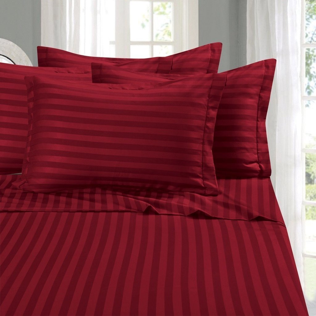Flyingcart Luxury Hotel 400-Thread-Count 100% Egyptian Cotton Cal King 1pc Fitted Sheet Striped with 21'' Deep Pocket, Red