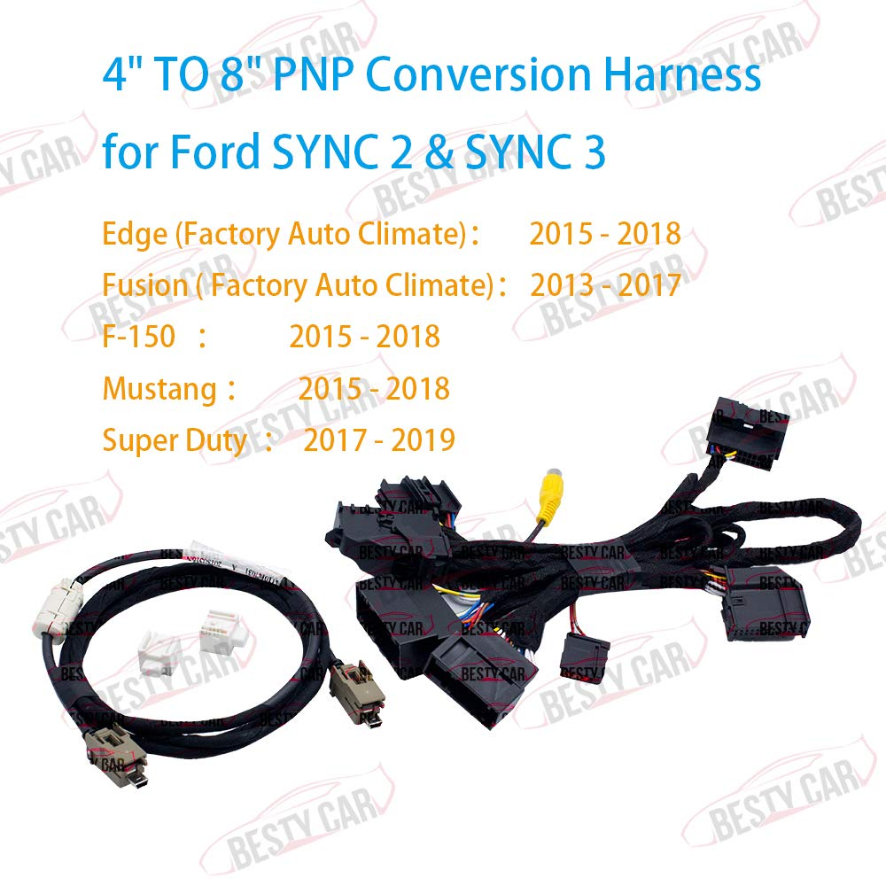 Bestycar 4'' TO 8'' PNP Conversion Harness for Ford SYNC 1 to SYNC 2 & SYNC 3 Upgrade Fits for Ford Edge Fusion F-150 Mustang Super Duty Power Harness Adapter & USB Interface Module Adapter & APIM Cable by Bestycar