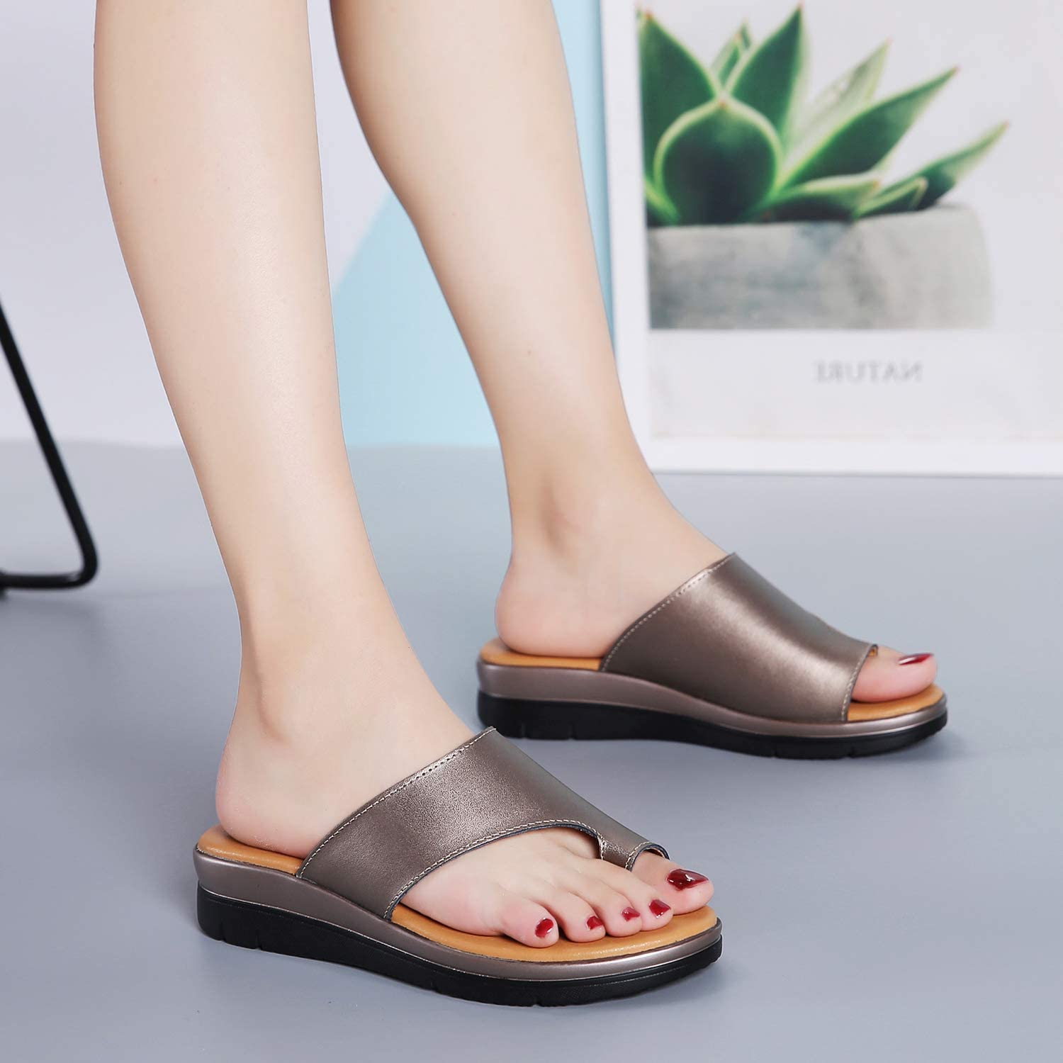 Bunion Sandals for Women Comfy Bunion Corrector Platform Shoes BSP-2 Genuine Leather Women Flip-Flop Light Weight Ladys Shoes Wedge Sandals Size 5.5-10.5 Black Gold Brown White