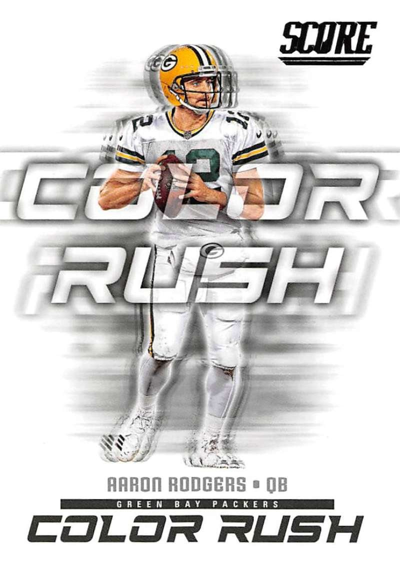 2018 Score Color Rush #5 Aaron Rodgers Green Bay Packers Football Card