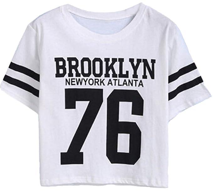 e4e7aeeda0b82 ZKOO Mujeres Manga Corta Camisetas Verano Algodón Carta Impresión T Shirt  Blusas Camisas Tops Personalidad  Amazon.es  Ropa y accesorios