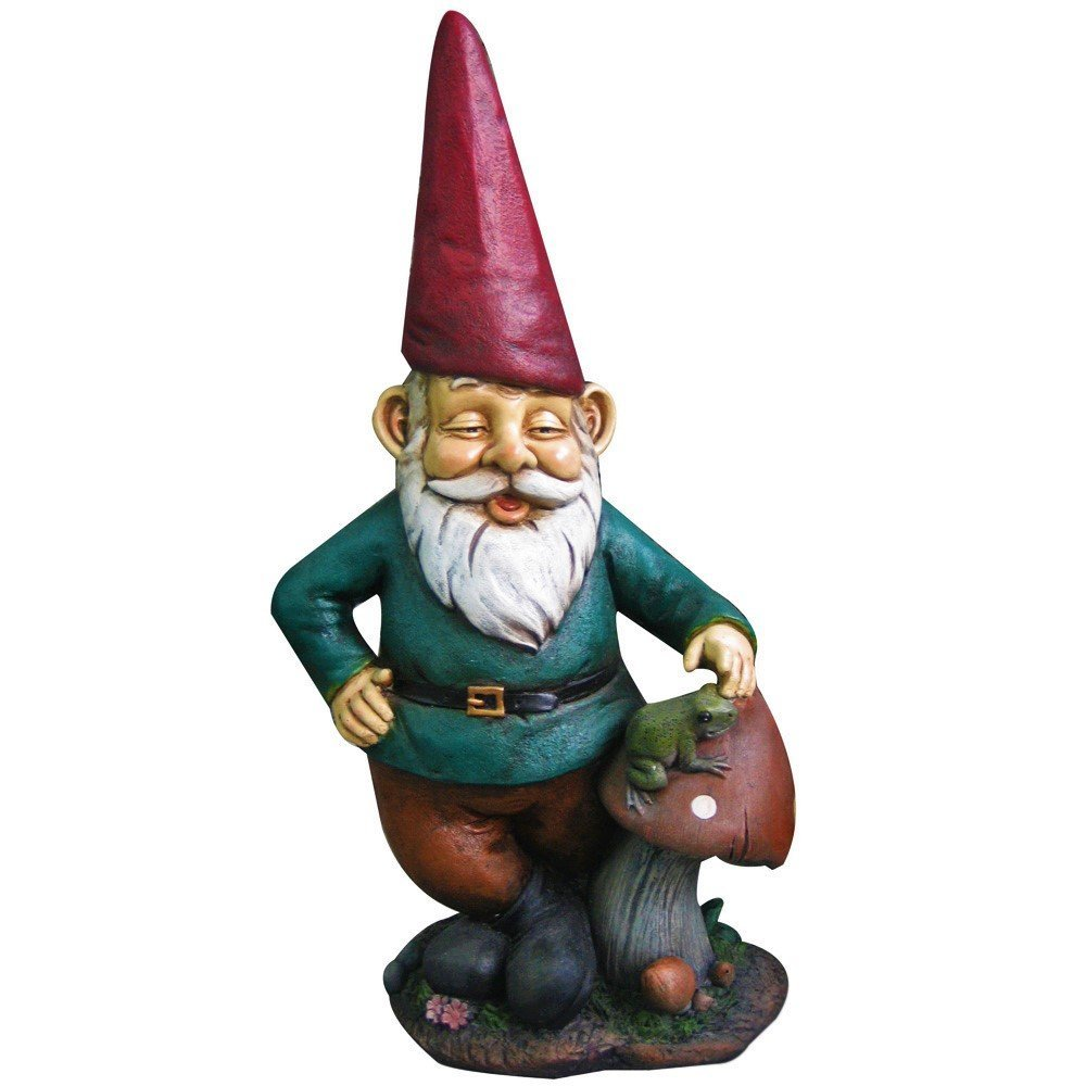 14'' Garden Gnome w/ Mushroom & Frog by Harmony Fountains