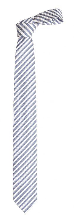 Fabio Farini Corbata blanco gris azul: Amazon.es: Ropa y accesorios