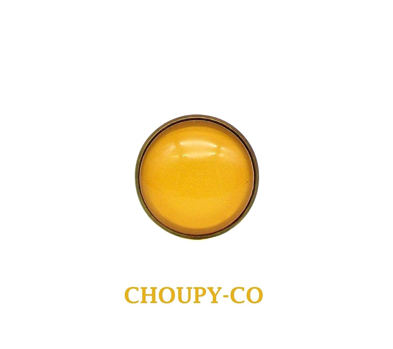 Bague ronde cabochon * jaune moutarde * couleur uni monochrome tendance bronze bague réglable femme fantaisie idée cadeau
