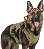 Rabbitgoo Tactical Dog Harness Vest Large with Handle, Military Dog Harness Working Dog Vest with MOLLE & Loop Panels, No-Pull Adjustable Training Vest with Metal Buckles & Leash Clips for Walking, Brown, Medium