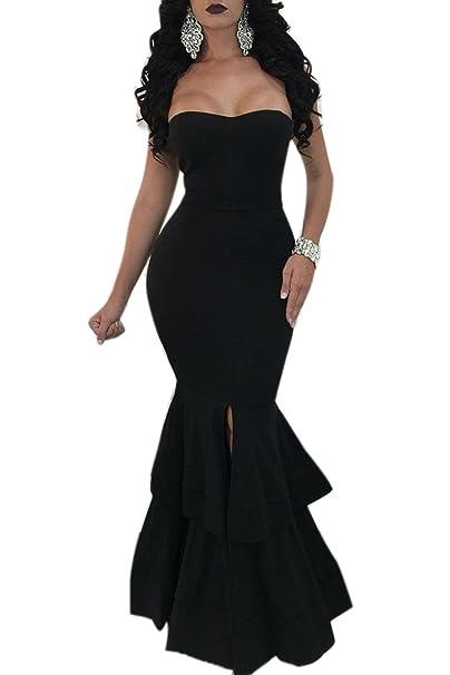 f1ab8f8730 Jumojufol Women s Elegant Tube Strapless Backless Slit Bodycon Prom Mermaid  Dress Black XS